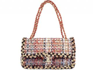Chanel multi coloured tweed shoulder classic double flap bag