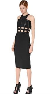 David Koma Black Leather Trim Halterneck Dress
