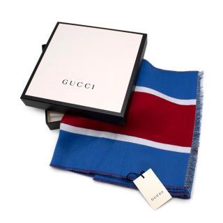 Gucci Royal Blue Heron Wool Scarf