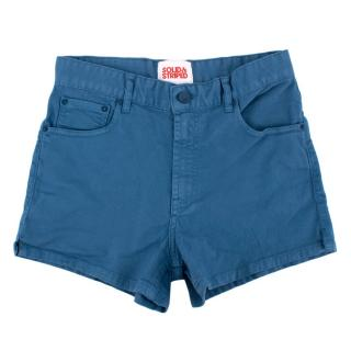 Solid & Striped Blue Cotton Shorts