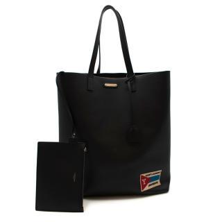 Saint Laurent Black Leather University Patch Tote Bag