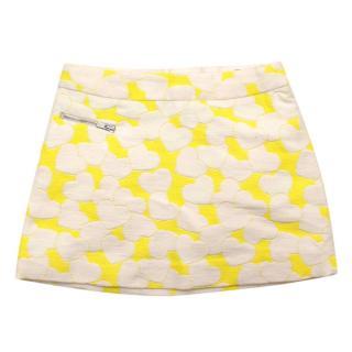 Bonpoint Yellow and White Heart Print Skirt