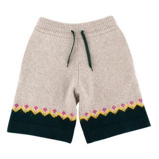 Burberry Gunley Fair-Isle Grey Wool Shorts