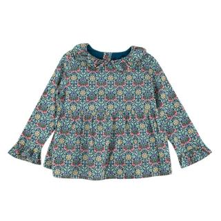Bonpoint Floral Print Green Long-sleeve Top