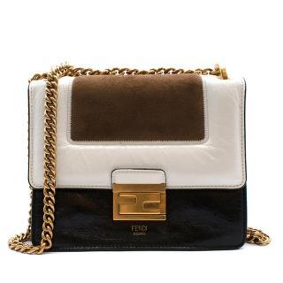 Fendi Black, Brown & White Leather & Suede Small Shoulder Bag