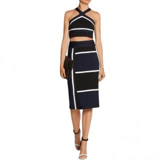 Jonathan Simkhai Black & White Stretch Knit Skirt & Halterneck Top