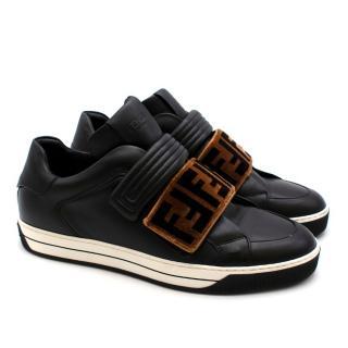 Fendi Black Sneakers with Velvet Monogram Detail