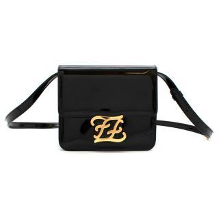 Fendi Karligraphy black patent leather shoulder bag