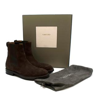 Tom Ford Brown Suede Chelsea Boots