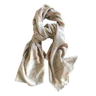 Etro Paisley Embroidered Silk & Wool Scarf