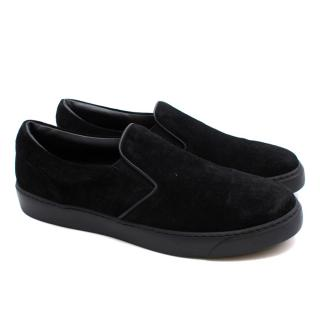 Moncler Black Suede Slip-on Trainers