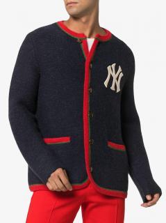 Gucci X NY Yankees Blue Wool Web Cardigan