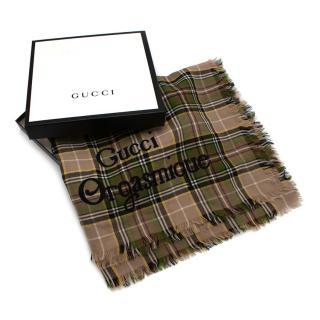 Gucci Green Checkered Wool Gucci Orgasmique Shawl 140