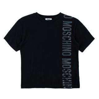 Moschino Teen Black Graphic Cotton T-shirt