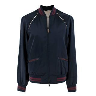 Valentino Navy Rockstud Bomber Jacket