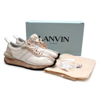 Lanvin White Beige Leather & Nylon Bumper Trainers