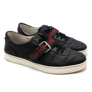 Gucci Black Leather Web Buckle Trainers
