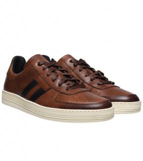 Tom Ford Brown Burnished Leather Radcliffe Sneakers