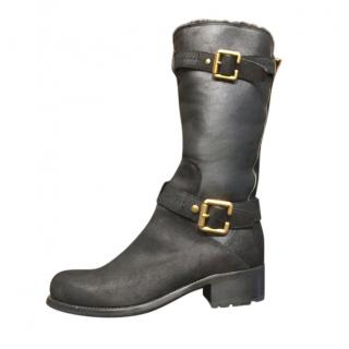 Dior Black Leather Fur Lined Knee Boots