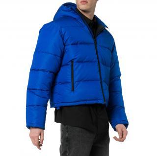 Balenciaga Blue Textured Nylon Puffer Jacket