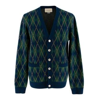 Gucci Check Green & Navy Knitted Wool Cardigan  Men's S