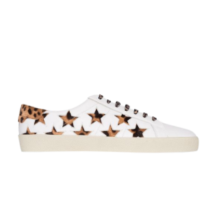 Saint Laurent Leather Leopard Pony Hair Star Sneakers