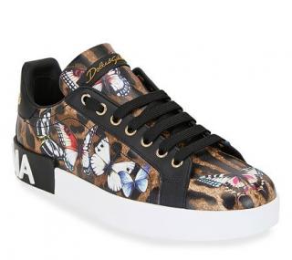 Dolce & Gabbana Leopard & Butterfly Print Sneakers