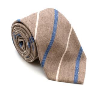 Fiorio Milano Brown Cashmere Blend Striped Tie