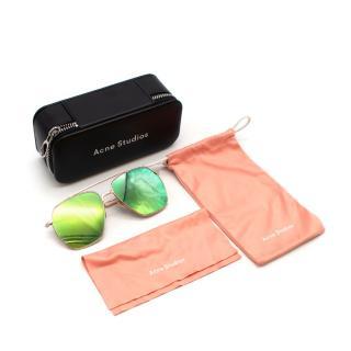 Acne Studios Reflective Rose Gold Tone Aviator Sunglasses