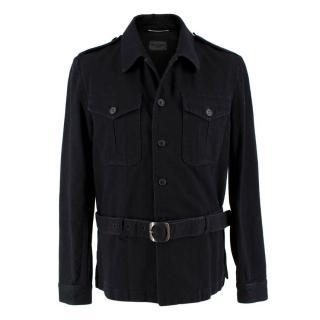 Saint Laurent Belted Black Denim Jacket