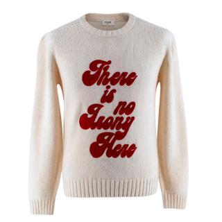 Celine Ivory Knitted Wool Sweatshirt with Red Velvet Print