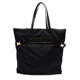 Prada Oversized Black Nylon Tote Bag
