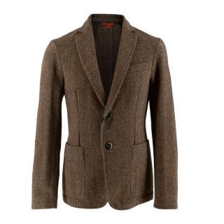 Barena Slim-Fit Checked Virgin Wool Brown Blazer