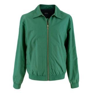 A.P.C Green Cotton Zip-up Jacket