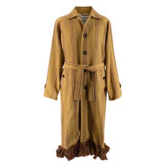 Acne Studios Brown and Yellow Oles Blanket Coat