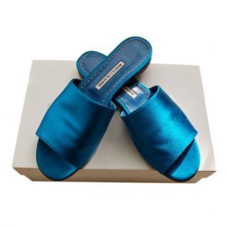 Manolo Blahnik Turquoise Satin Rapalla Slides