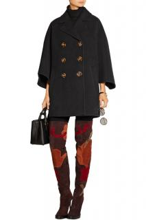 Burberry Prorsum Black Felted Wool Cape Coat