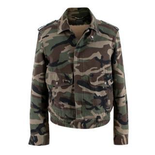 Saint Laurent Camo Shearling Lined Bomber Jacket