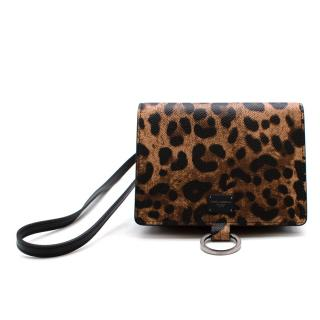 Dolce & Gabbana Leopard Print Leather Mini Shoulder Bag