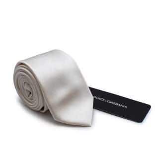 Dolce & Gabbana White Silk Satin Tie