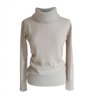 Max Mara Beige Virgin Wool & Cashmere Roll Neck Jumper