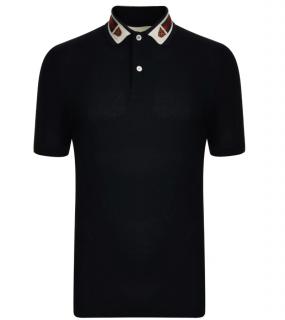 Gucci Black Tiger Collar Polo Shirt