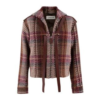 Lanvin Men's Leather Trimmed Short Wool Jacket
