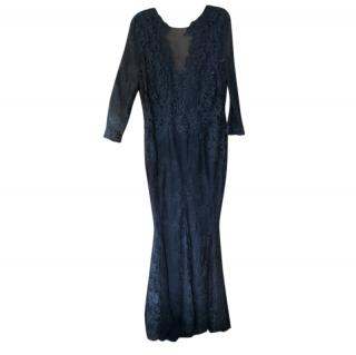 Philip Armstrong Black Lace Gown