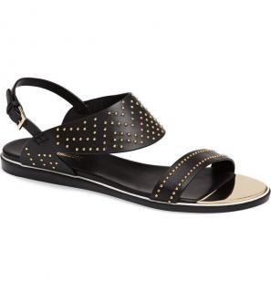 Nicholas Kirkwood Black Studded Flat Sandals