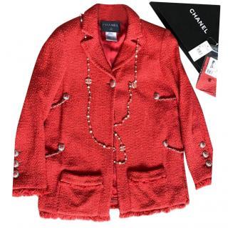 Chanel Coral Tweed Chain Trim Runway Jacket