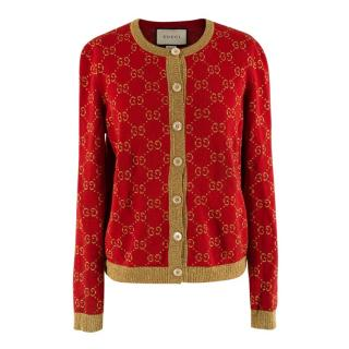 Gucci Red & Gold Cotton Blend GG Monogram Cardigan