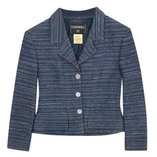 Chanel Blue Striped Tailored Jacket