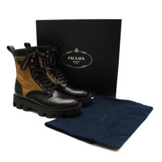 Prada Black & Beige Leather & Nylon Logo Combat Boots