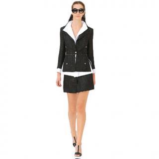 Chanel Black & White Distressed Tweed Runway Skirt Suit